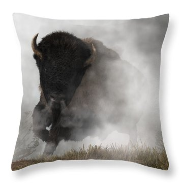 Buffalo Emerging From The Fog Throw Pillow by Daniel Eskridge