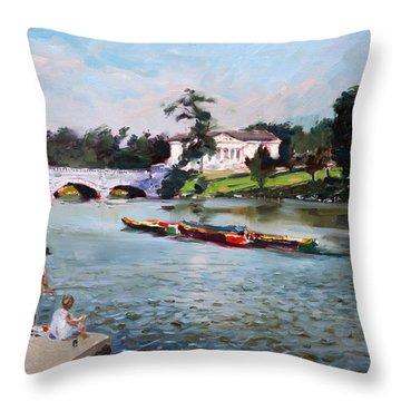 Buffalo  Fishing Day Throw Pillow