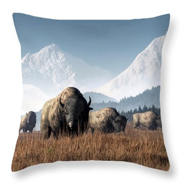 Throw Pillow featuring the digital art Buffalo Grazing by Daniel Eskridge
