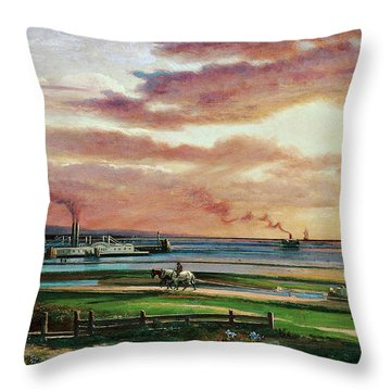 Buffalo Harbor From The Foot Of Porter Avenue, 1871 Throw Pillow