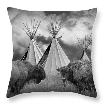 Buffalo Herd Among Teepees Of The Blackfoot Tribe Throw Pillow