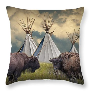 Buffalo Herd On The Reservation Throw Pillow