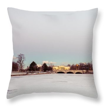 Throw Pillow featuring the photograph Buffalo History Museum Across Hoyt Lake by Chris Bordeleau
