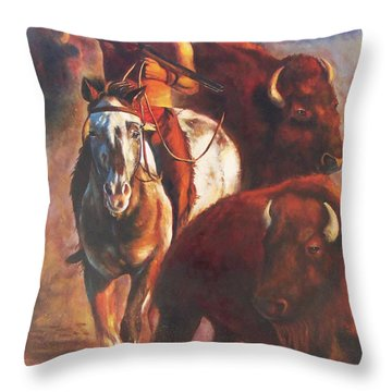 Throw Pillow featuring the painting Buffalo Hunt by Karen Kennedy Chatham