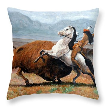 Buffalo Hunt Throw Pillow