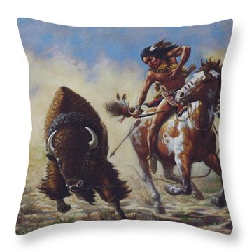 Buffalo Hunter Throw Pillow by Harvie Brown