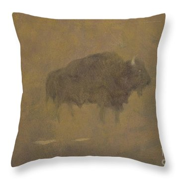 Buffalo In A Sandstorm Throw Pillow by Albert Bierstadt