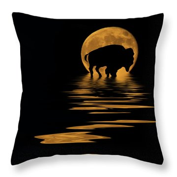 Buffalo In The Moonlight Throw Pillow