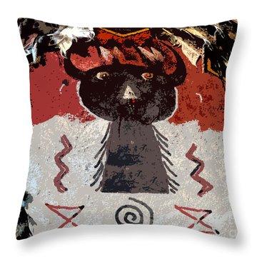 Buffalo Man Throw Pillow by David Lee Thompson