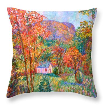 Throw Pillow featuring the painting Buffalo Mountain In Fall by Kendall Kessler
