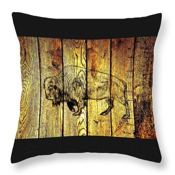 Throw Pillow featuring the photograph Buffalo On Barn Wood by Larry Campbell