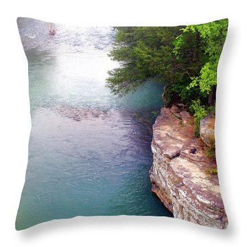 Buffalo River Mist Throw Pillow by Marty Koch