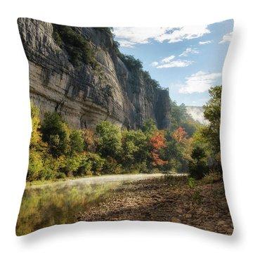 Buffalo River Morning Throw Pillow by James Barber