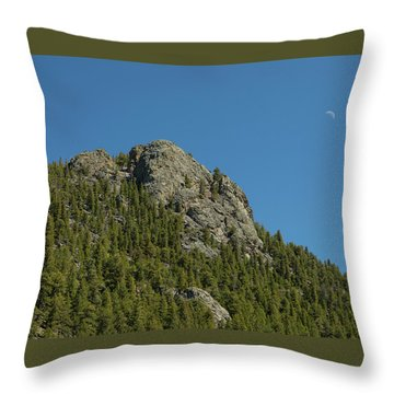 Throw Pillow featuring the photograph Buffalo Rock With Waxing Crescent Moon by James BO Insogna