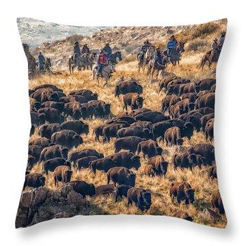 Throw Pillow featuring the photograph Buffalo Roundup by Kristal Kraft