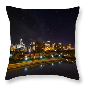 Buffalo Skyline Under The Stars Throw Pillow