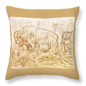 Buffalo Trail  Throw Pillow