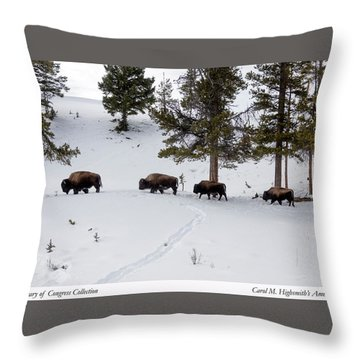 Throw Pillow featuring the photograph Buffaloes In Yellowstone National Park by Carol M Highsmith