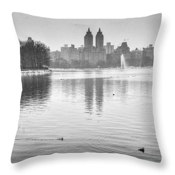 Buffelhead Ducks On The Reservoir Throw Pillow