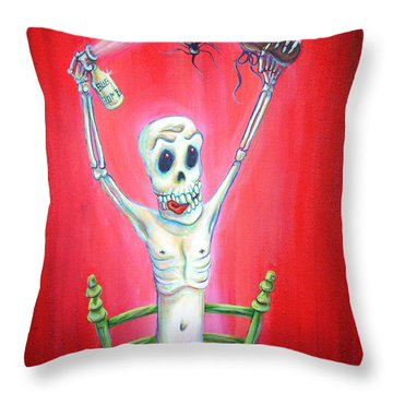 Bug Bomb Throw Pillow by Heather Calderon