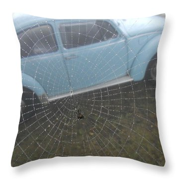 Bug In A Web Throw Pillow by Diannah Lynch