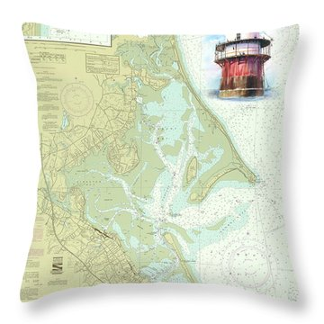 Bug Light On A Noaa Chart Throw Pillow