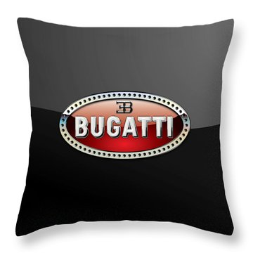 Bugatti - 3 D Badge On Black Throw Pillow by Serge Averbukh