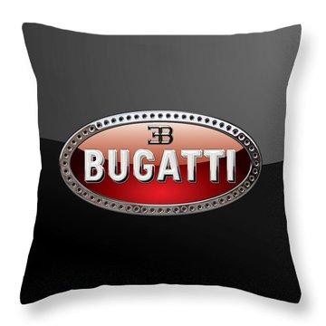 Bugatti - 3d Badge On Black Throw Pillow by Serge Averbukh