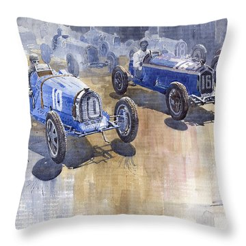 Bugatti 51 Alfa Romeo 8c 1933 Monaco Gp Throw Pillow by Yuriy  Shevchuk
