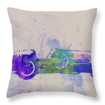 Bugatti Type 35 R Watercolor 2 Throw Pillow by Naxart Studio