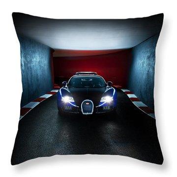 Bugatti Veyron In Secret Tunnel Throw Pillow