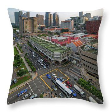 Bugis Village Junction In Singapore Entertainment District Throw Pillow by David Gn
