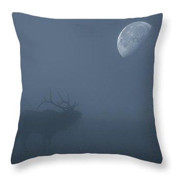 Bugle At The Moon Throw Pillow