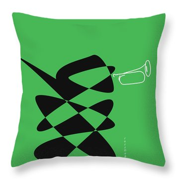 Throw Pillow featuring the digital art Bugle In Green by David Bridburg
