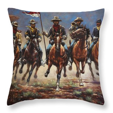 Throw Pillow featuring the painting Bugler And The Guidon by Harvie Brown