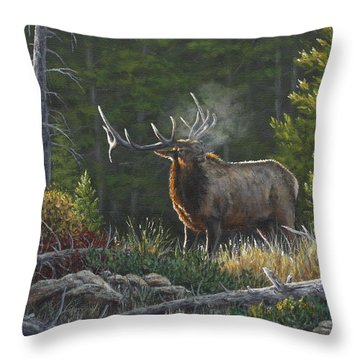 Bugling Bull Throw Pillow