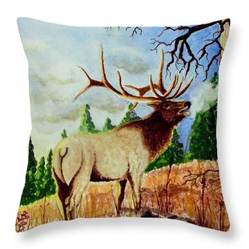 Bugling Elk Throw Pillow by Jimmy Smith