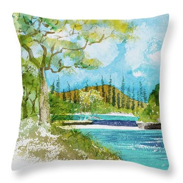 Bugny Trees At Kanumera Bay, Ile Des Pins Throw Pillow
