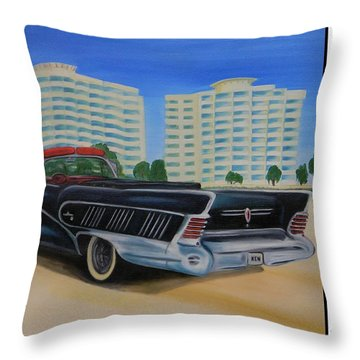 Buick On The Beach Throw Pillow