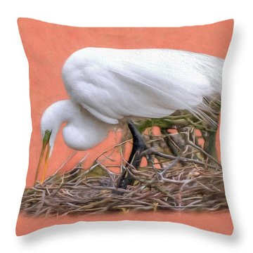 Building A Nest Throw Pillow by Marion Johnson