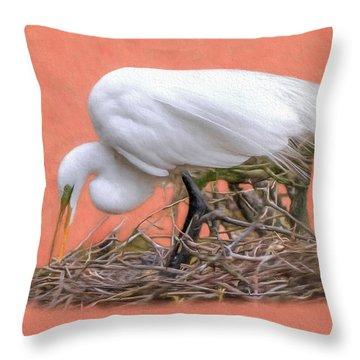 Building A Nest Throw Pillow