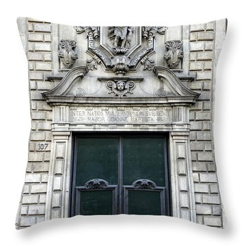 Building Artwork And Old Door In Barcelona Throw Pillow