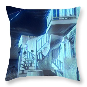Building At Harbour  Throw Pillow