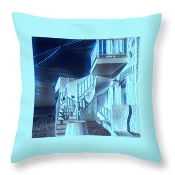 Building At Harbour  Throw Pillow
