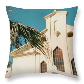 Building Behind Palm Tree In Ostia, Rome Throw Pillow