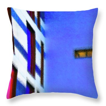Throw Pillow featuring the digital art Building Block - Blue by Wendy Wilton