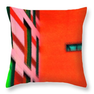 Throw Pillow featuring the digital art Building Block - Red by Wendy Wilton