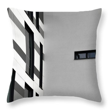 Throw Pillow featuring the photograph Building Block - Black And White by Wendy Wilton