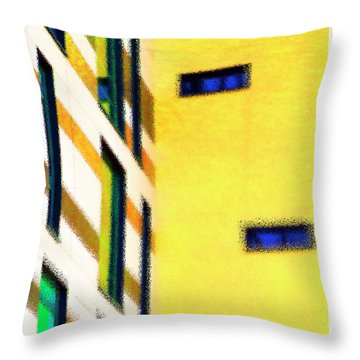 Throw Pillow featuring the digital art Building Block - Yellow by Wendy Wilton
