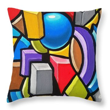 Building Blocks- Abstract 3dpainting Throw Pillow